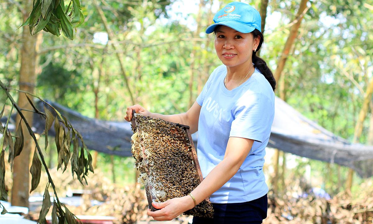 Chị Vinh kiểm tra cầu ong trước ngày quay mật. Ảnh: Phan Dương.
