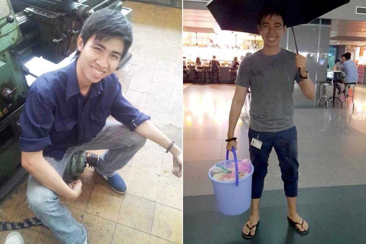 Những năm tháng tuổi trẻ Đạt làm nhiều công việc để trải nghiệm cuộc sống. Cậu làm công nhân cơ khí (trái) và vừa làm công ty, vừa đi ship nước mía ban đêm (phải). Ảnh: Nhân vật cung cấp.