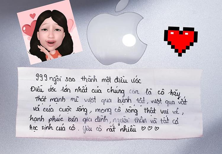 Bức thư học sinh gửi cô giáo Lưu Ngọc Lan ngày đầu cô trở lại trung tâm Anh ngữ của mình sau gần2 tháng điều trị ung thư máu tại Viện. Ảnh: Nhân vật cung cấp.