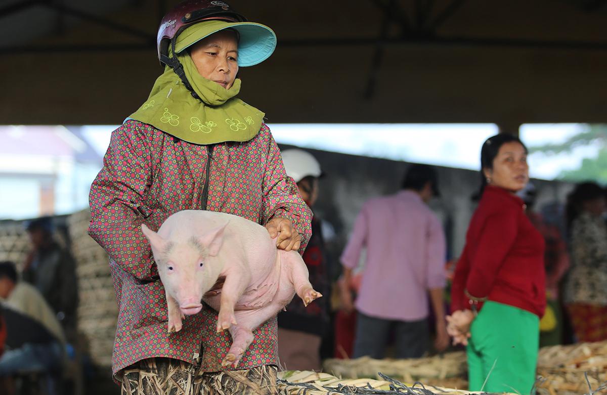 Bà Lâm bồng nặng hơn 10kg nhận tiền công 1.000 đồng. Ảnh: Đắc Thành.