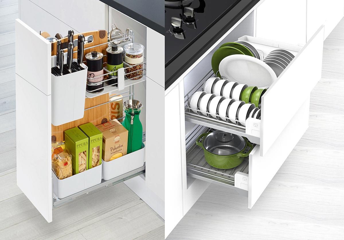 Bộ đôi phụ kiện lưu trữ Cooking Agent và Dining Agent do Hafele phân phối có ray trượt giảm chấn, hoạt động êm ái, thích hợp cho thiết kế gian bếp hiện đại.