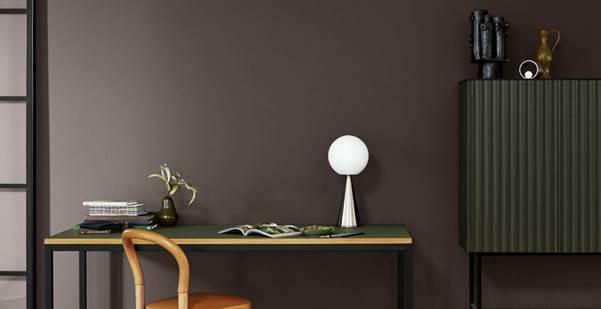 Màu nâu của mẫu sơn 20145 Wisdom, thuộc bộ sưu tập màu 2020 của sơn Jotun, giúp phòng làm việc ấm áp, kích thích khả năng sáng tạo.