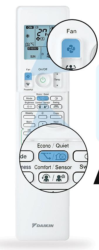 Chọn đồng thời chế độ Fan ở mức thấp nhất và Quiet không chỉ giảm ồn tối đa cho căn phòng mà còn tiết kiệm điện năng tiêu thụ.