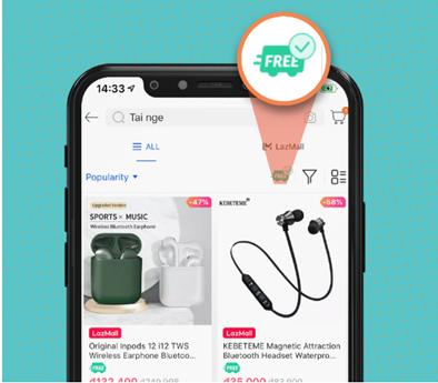 Khác hàng có thể sử dụng bộ lọc để tìm kiếm sản phẩm miễn phi giao hàng