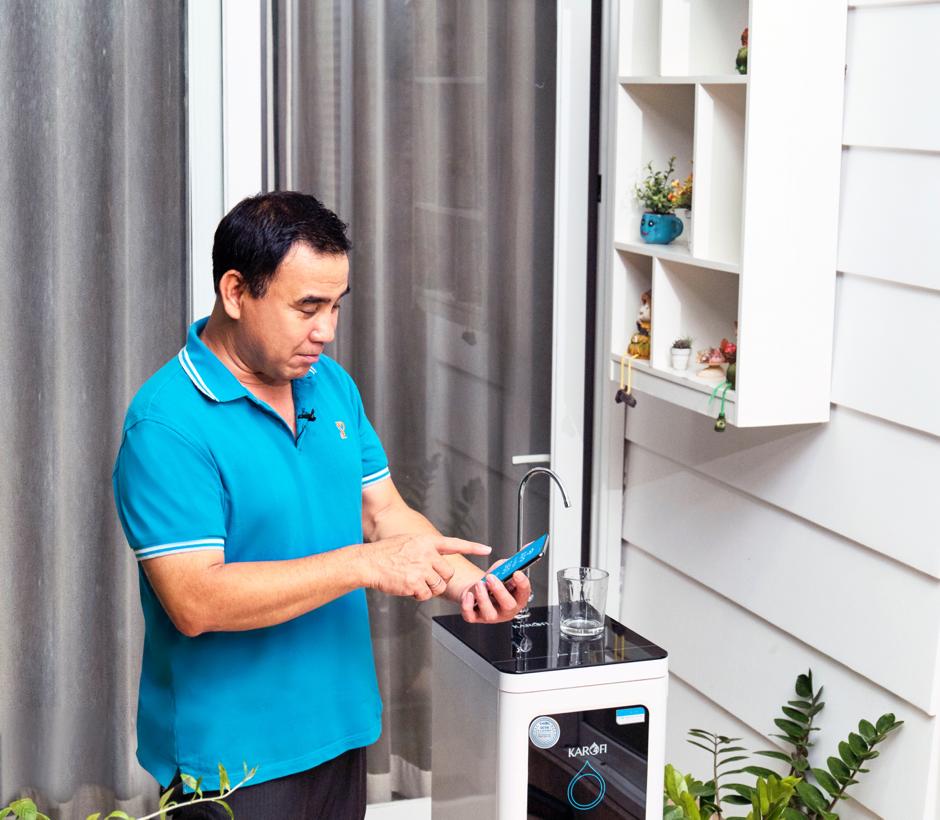 Máy lọc nước thế hệ mới có khả năng thông báo thời gian thay lõi lọc trên app điện thoại.