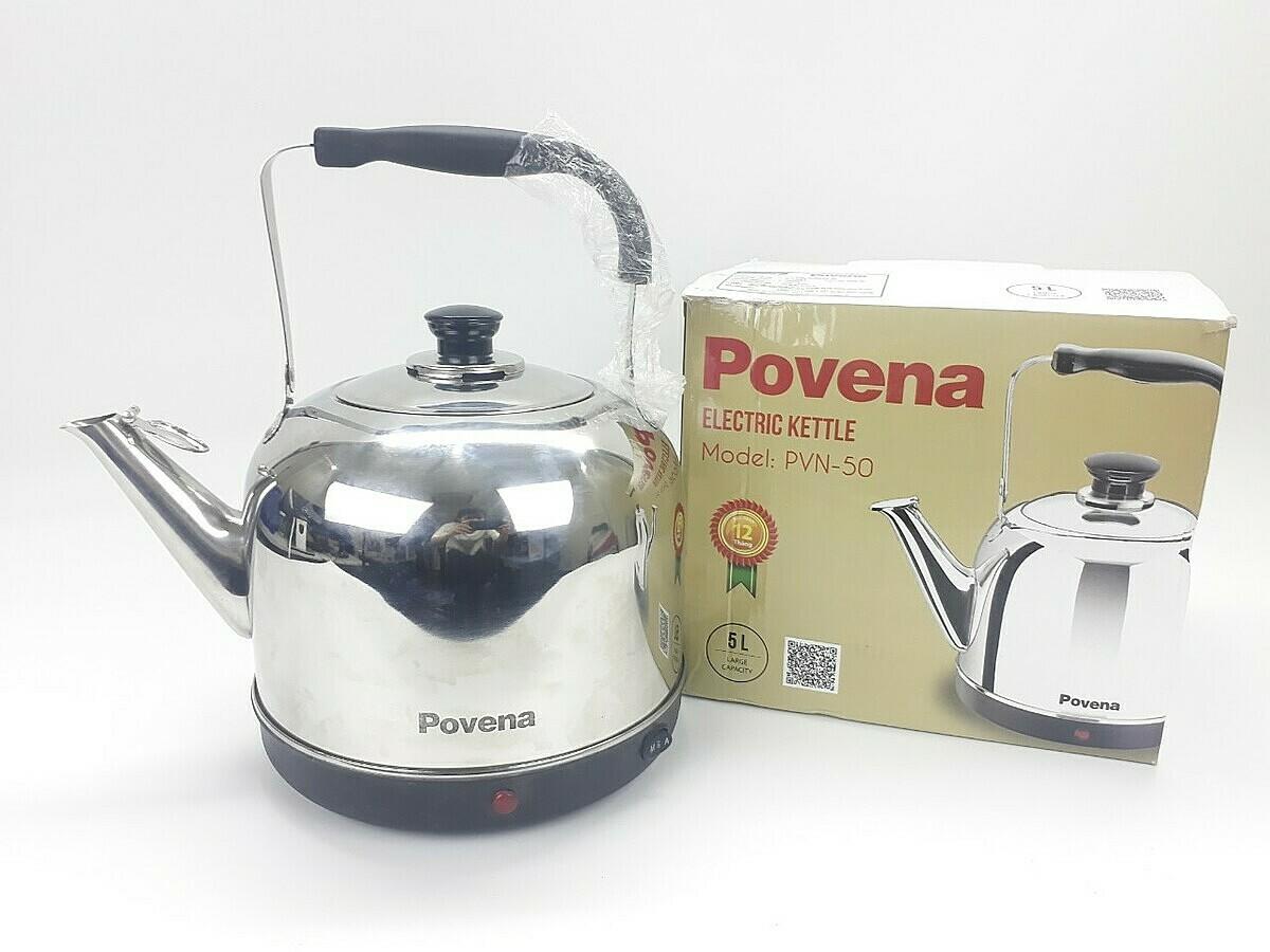 Ấm đun nước điện Povena PVN-50 (5 lít) giảm 40% còn 299.000 đồng; làm từ chất liệu inox cao cấp; thiết kế kín hơi giúp bạn dễ dàng cầm ấm mà không lo bị bỏng. Ngoài ra, miệng vòi có nắp đậy giữ nước sạch khỏi bụi bẩn hoặc côn trùng. Sản phẩm có dung tích 5L, tiện lợi cho sử dụng tại văn phòng đông người, dễ dàng mang lại cho bạn những tách trà, tách cafe ấm nóng bất cứ lúc nào, hay trở thành trợ thủ đắc lực cho bà nội trợ nấu nướng và chăm sóc gia đình.