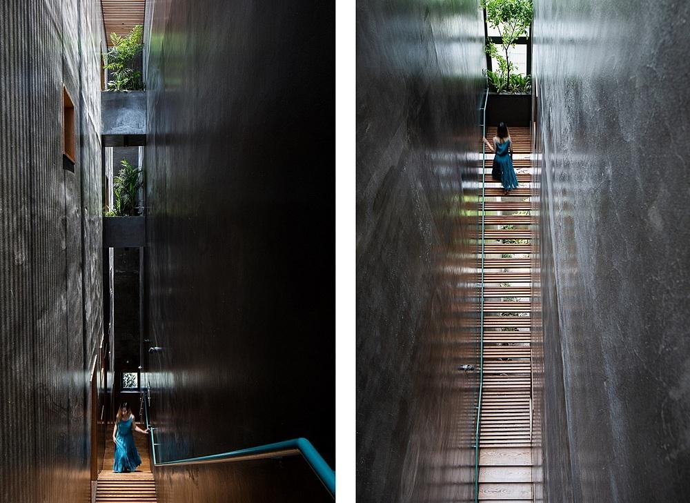 Đi trên cầu thang, chủ nhà nhận xét như đang đi lên trời. Ảnh: Quang Dam.