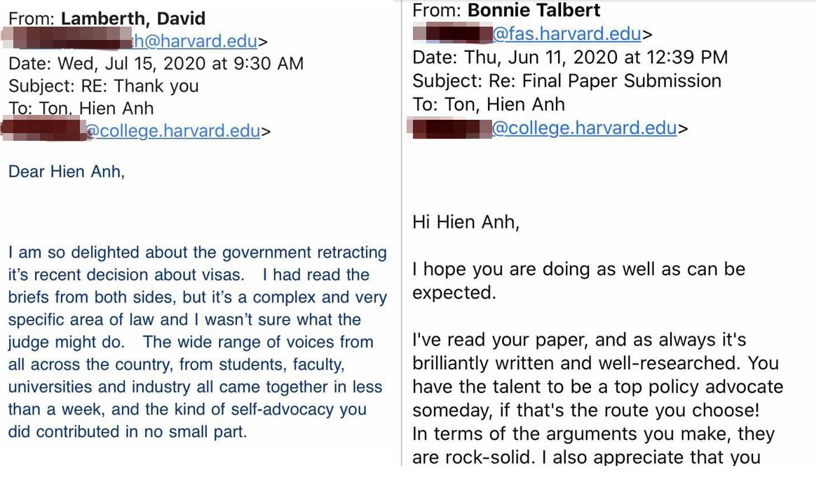 Thầy giáo của Hiền Anh, giáo sư Lamberth khen ngợi cô trò nhỏ góp tiếng nói, buộc Nhà Trắng bãi bỏ chính sách hạn chế visa (trái). Giáo sư Bonnie Talbert khen ngợi Hiền Anh trong bài luận cuối khóa (phải).
