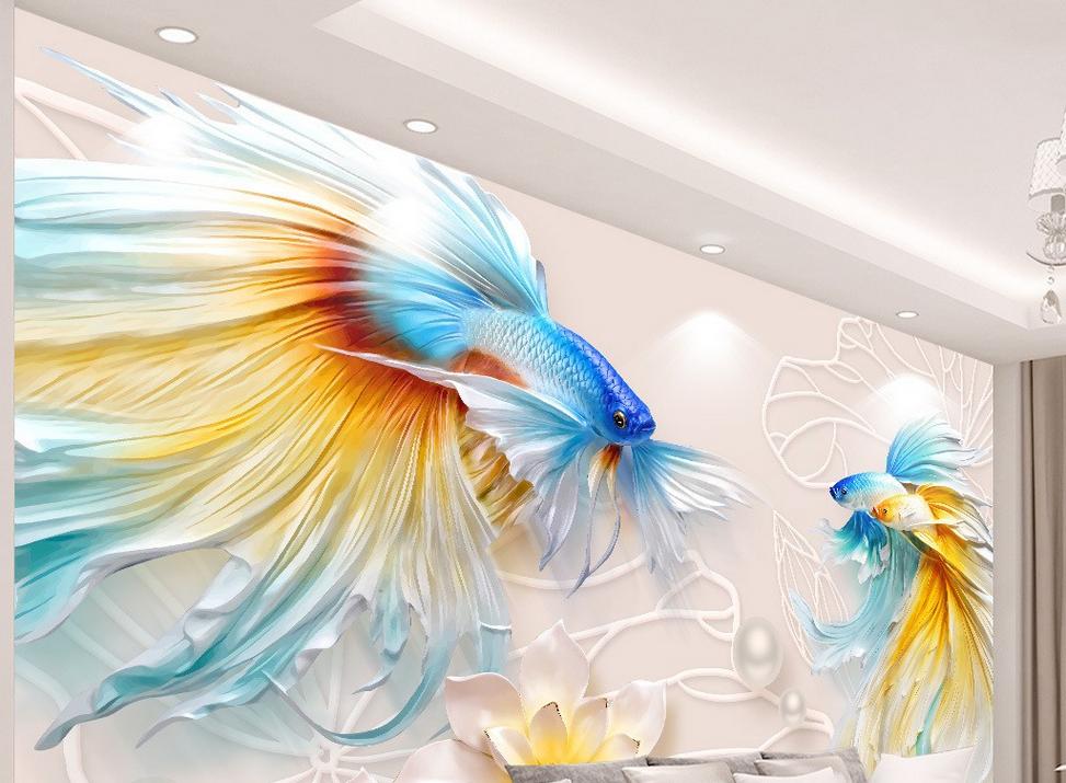 Tranh DN29 hoa văn đôi cá in trên giấy nhập từ Hàn Quốc, kích thước125 x 140cm đang được bán với giá 370.000 đồng.