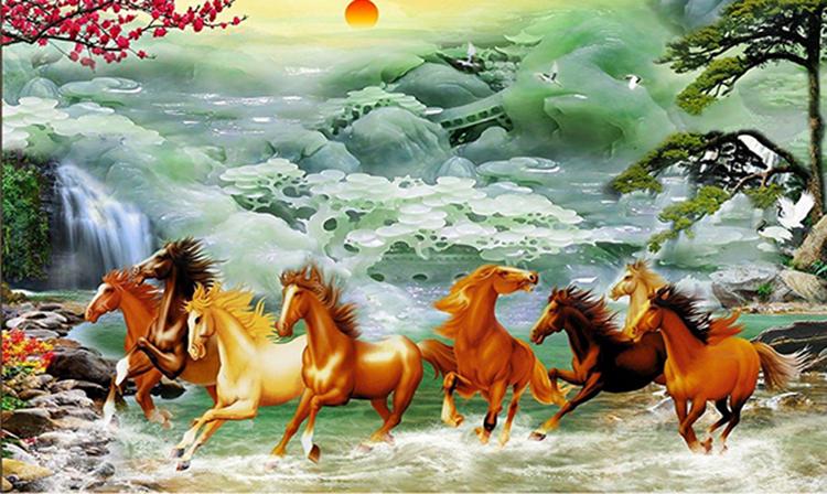 Tranh dán tường hoa văn ngựa phi nước đại 2 PT41 in trên giấy PP cao cấp chống nước, cán màng lụa bảo vệ kim sa tạo độ 3D, phù hợp treo phòng khách, phòng làm việc, hành lang. Bức tranh kích thước 100 x 150cm đang được bán với giá 295.000 đồng