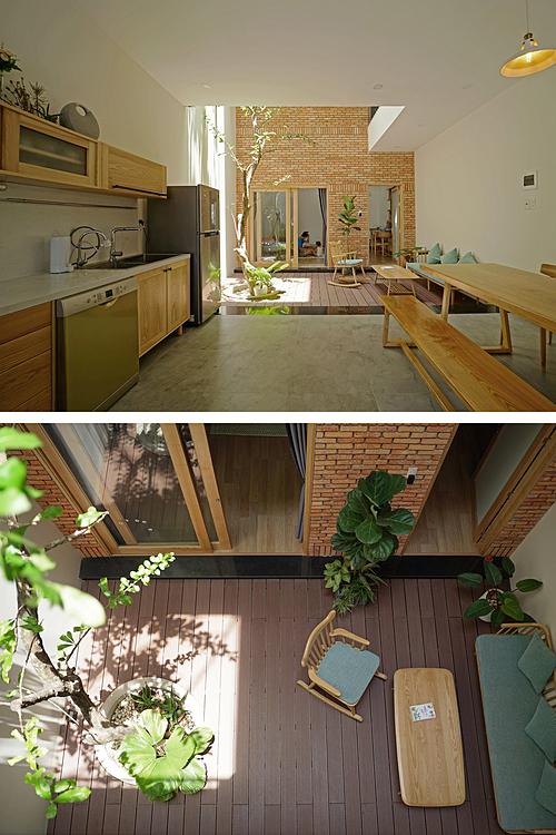 Bên trong nhà. Khoảng thông tầng ở tầng trệt vừa là không gian đệm vừa là chỗ thư giãn của gia đình. Ảnh: Nguyễn Cường.