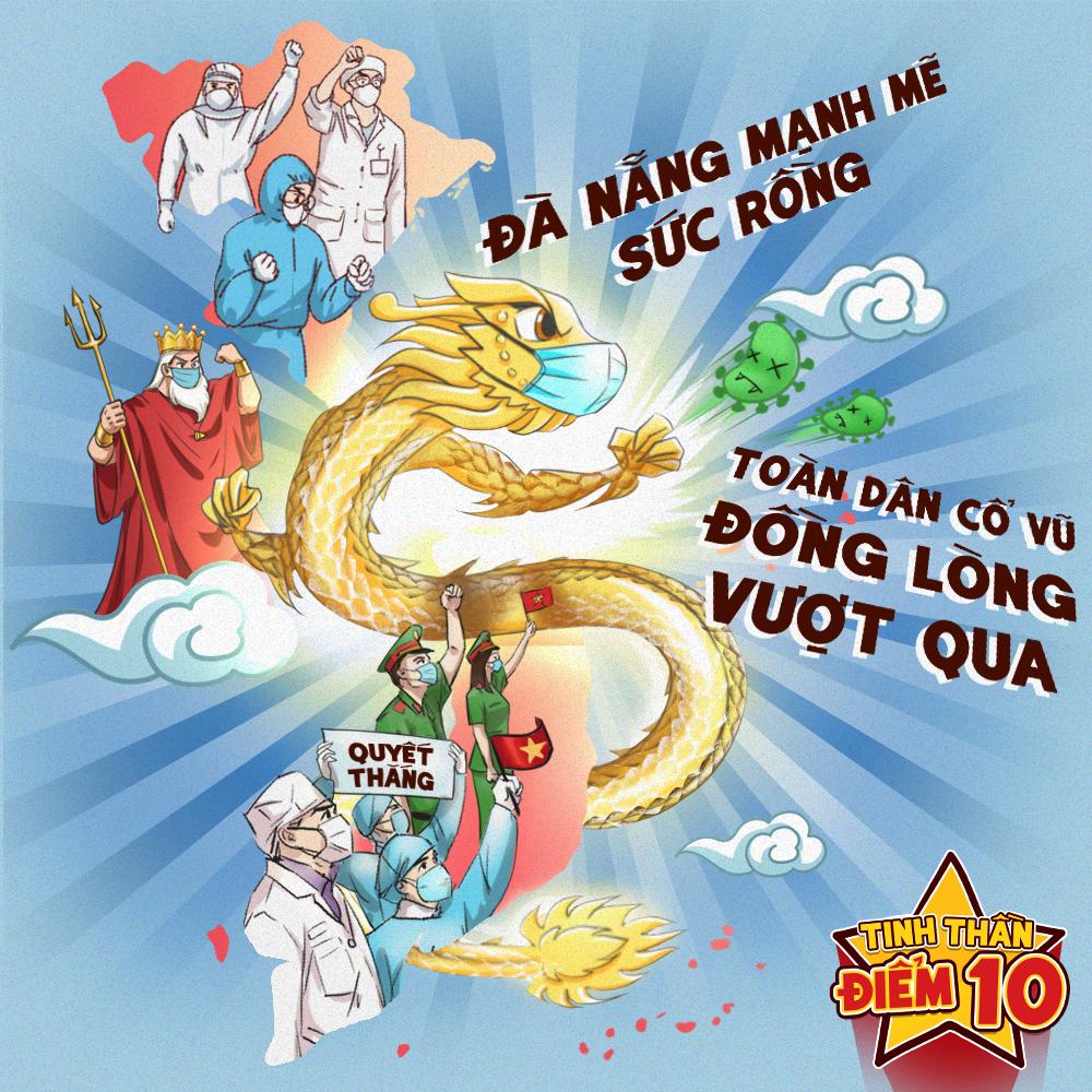 Mượn hình ảnh Cầu Rồng - địa điểm nổi tiếng ở Đà Nẵng để gởi gắm niềm tin quyết thắng Covid-19.