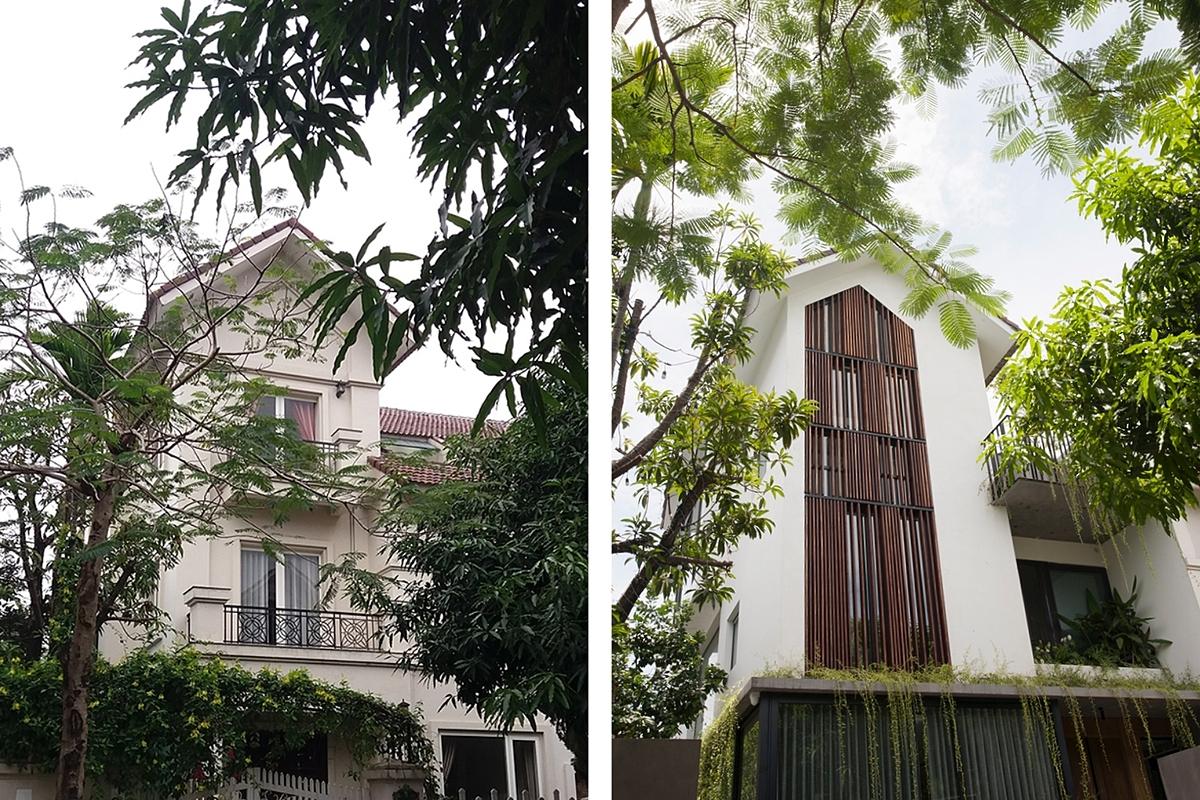 Mặt tiền công trình trước và sau cải tạo. Ảnh: NGHIA Architect.