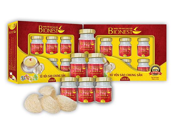 2 Hộp yến sào Bionest Gold cao cấp - hộp quà tặng 6 lọ 419.000đ(-28%)Yến sào bionest Gold bổ sung nguồn dinh dưỡng, vitamin, canxi cho người lớn bồi bổ và tăng cường sức khỏe.Yến sào Bionest GoldYến sào Bổ sung dinh dưỡng cho người suy nhược, kém ăn, miễn dịch kém, Tăng cường sức khỏe, Tăng cường chức năng hệ xương.