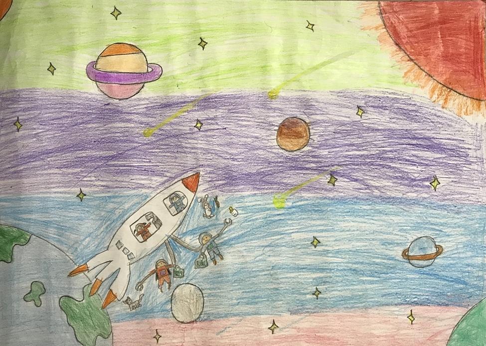 Ước mơ của bé là bay lên vũ trụ và không muốn các hành tinh, trái đất bị hố đen vũ trụ đe dọa.