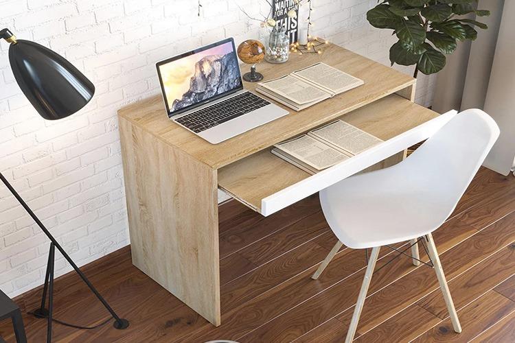 Bàn học bàn làm việc có ngăn kéo tiết kiệm diện tích - gp77 giảm 35% còn 780.000 đồng; nặng 17 kg; làm bằng chất liệu gỗ MDF phủ melamin; dài 850 cm, rộng 45 cm, cao 74 cm.