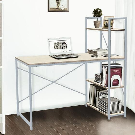 Bàn văn phòng, bàn vi tính, bàn học có kệ sách đi kèm Kachi MK184 - màu xám 949.000đ (-20%)Kích thước bàn: 120cm(dài)× 60cm(rộng) ×100cm(cao)Mặt bàn rộng, làm từ gỗ công nghiệp phủ Melamine chống bám bụi, chống xướcCó kệ sách đi liền kề bàn tiện lợiPhù hợp :     Văn phòngChất liệu :     Ván gỗ, khung thépTrọng lượng :     16kgKích thước :     120 × 60× 121cm