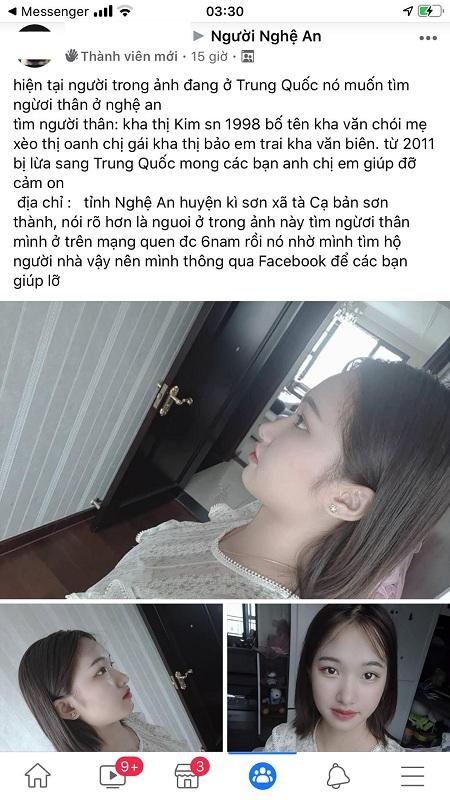 Thông tin về Kha Thị Kim Đan đăng tải lên mạng xã hội giúp cô tìm về gia đình. Ảnh: Cù Sĩ Ỏn.