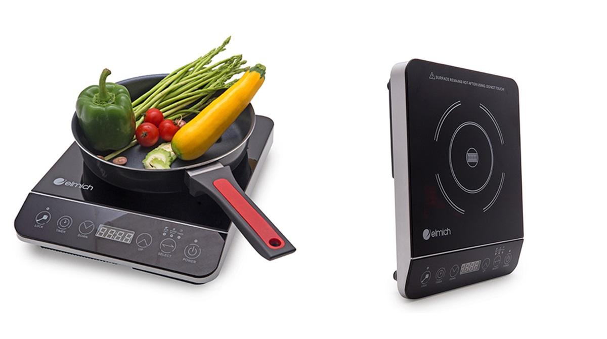 Bếp điện từ ELMICH EL6345 có vẻ ngoài hiện đại, gam đen sang trọng cho mọi căn bếp. Thiết bị chú trọng cảm ứng nhạy, tự động điều chỉnh nhiệt độ và có chế độ hẹn giờ linh hoạt.  Công nghệ sinh nhiệt với mâm từ kép, giúp nấu nhanh và tiết kiệm điện. Sản phẩm đang giảm 50%, còn 870.000 đồng (giá gốc 1,75 triệu đồng).