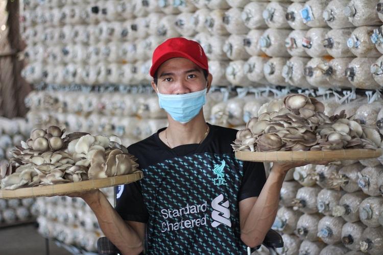 Anh An tự lên mạng xã hội học cách nuôi nấm bào ngư, nhờ sự phụ giúp của ba mẹ và nỗ lực của mình, 6 tháng trồng nấm đã giúp An có thêm sự tự tin vào bản thân. Ảnh: Nhân vật cung cấp.