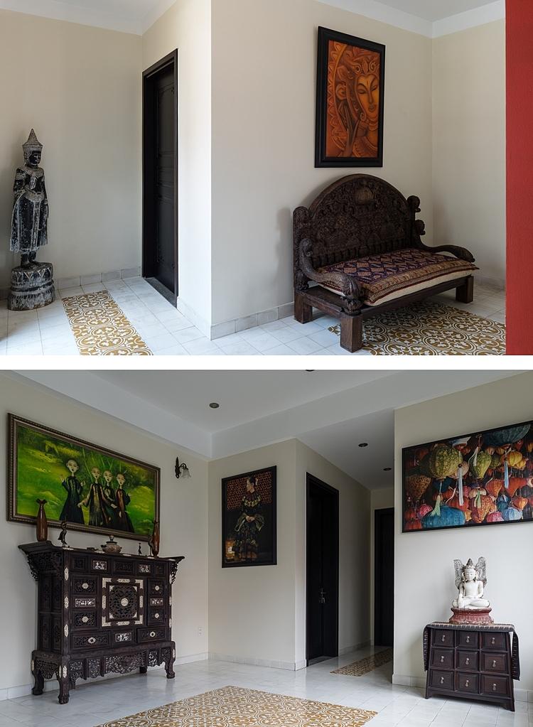 Các món đồ nội thất được làm từ gỗ cũ hoặc do chính gia chủ sưu tầm trong các chuyến đi nước ngoài. Ảnh: Quang Trần.