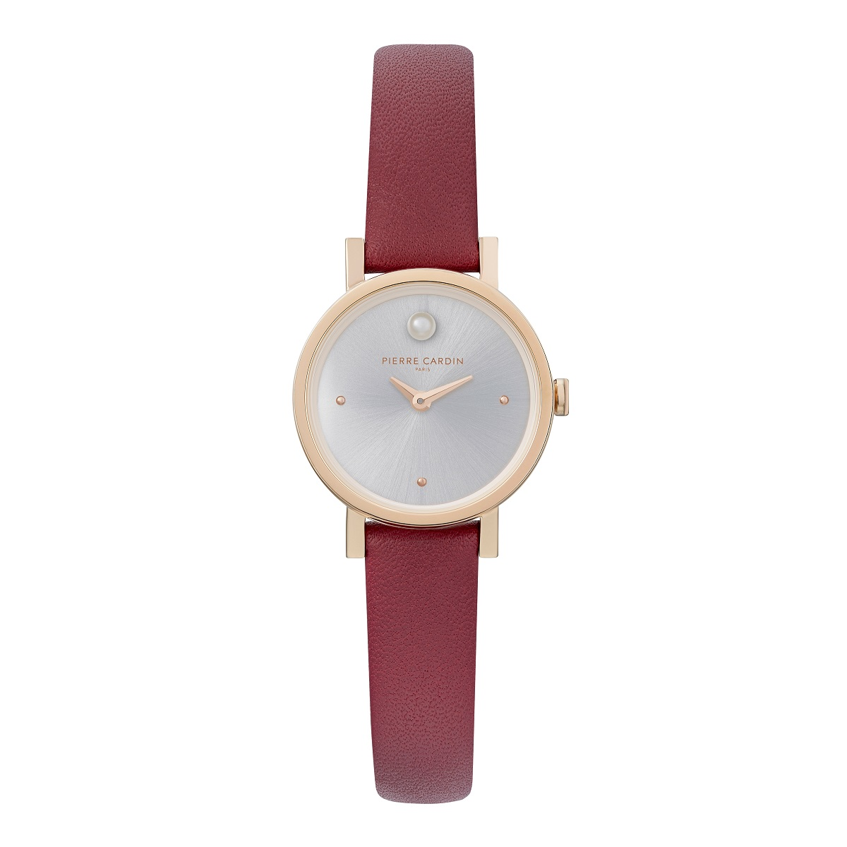 Nếu không thích dạng dây kim loại, bạn có thể tham khảo mẫu đồng hồ nữ Pierre Cardin CCM.0507 với dây đeo da màu đỏ cùng viền thép không gỉ mạ vàng. Mặt số tối giản màu xám bạc, hai kim giờ, phút, không có số. Sản phẩm có giá giảm 30% còn 2,52 triệu đồng (giá gốc 3,6 triệu đồng).