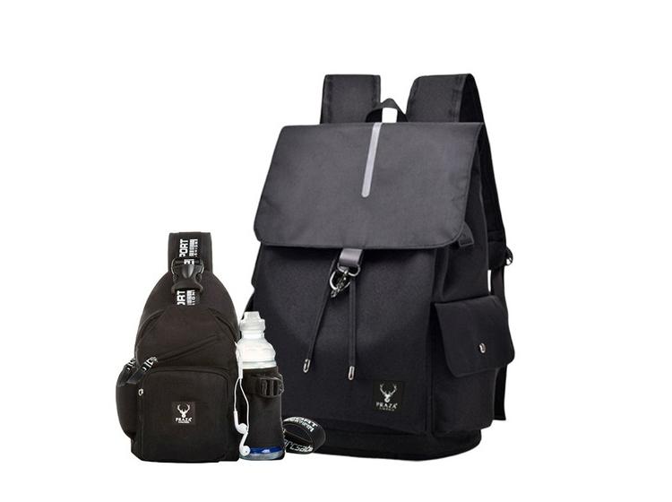 Bộ gồm balo có cổng sạc USB và túi đeo chéo  Praza - BL181DC108 may từ chất liệu polyester, bền, khó phai màu, phù hợp với cả nam và nữ. Ba lô có kích thước 43 x 31 x 18 cm chia làm nhiều ngăn, ngăn lớn có thể để laptop, ngăn nhỏ để đựng giấy tờ, tiền, ví... tiện dùng khi đi học, làm việc. Túi đeo chéo  kích thước 29 x 18 x 6 cm gọn gàng. Sản phẩm có cac màu đen và xanh dương, đang được bán với giá 279.000 đồng.