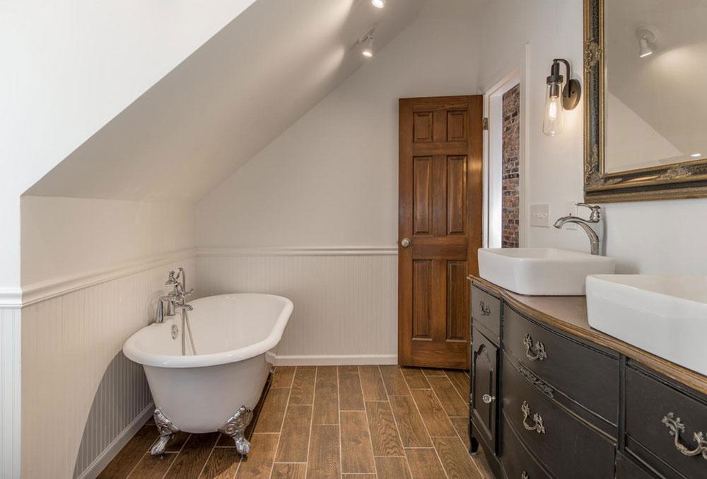 Không gian tắm hiện đại đầy đủ các trang thiết bị, gia chủ lắp đặt một chiếc bồn tắm sẽ giúp nhà tắm trở nên sang trọng hơn.Sau một ngày làm việc, học tập việc ngâm mình và thư giãn trong chiếc bồn tắm là khoảng thời gian thư giãn trong ngày. Để tạo sự đồng nhất, bồn tắm nên phù hợp với màu tường, nền nhà.