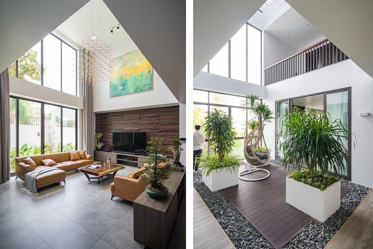 Không gian phòng khách và khu vườn ở tầng ba. Ảnh: A.BlueBird Photography.
