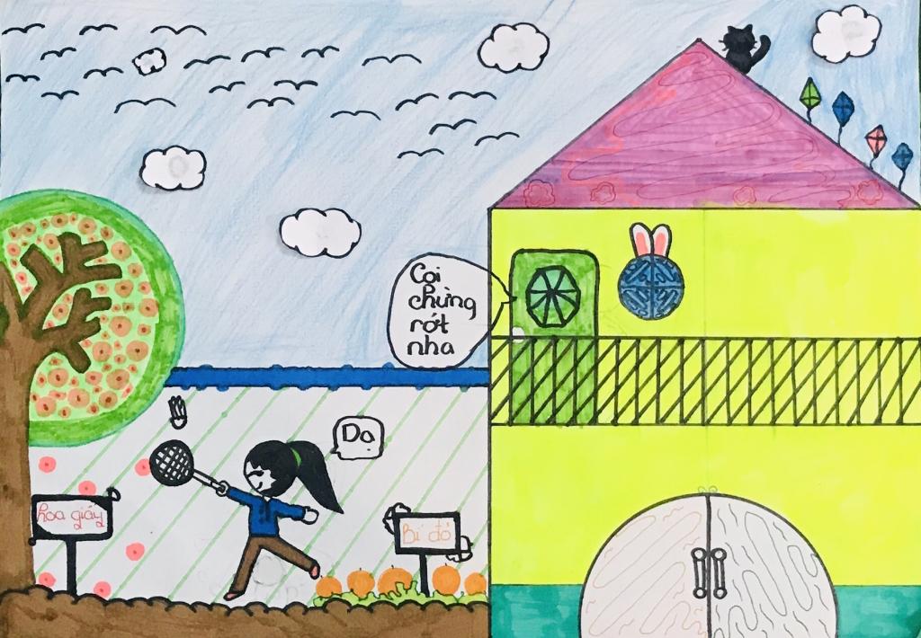Căn nhà mơ ước do chính tay Như Khiết (9 tuổi) thiết kế sẽ có vườn cho ba mẹ trồng cây trái. Khoảng sân rộng rãi ở xung quanh nhà là nơi cho cô bé 9 tuổi chơi cầu lông, thả diều, ngắm nhìn những chú chim bay lượn.