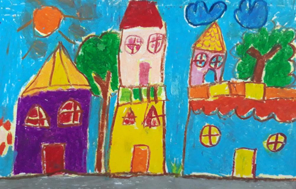 Ngôi nhà tương lai với những màu sắc sống động qua nét vẽ của bé Minh Duyên (7 tuổi). Bé ước mơ sẽ vẽ thật đẹp để có thể vẽ nên nhiều ngôi nhà xinh lung linh cho mọi người.