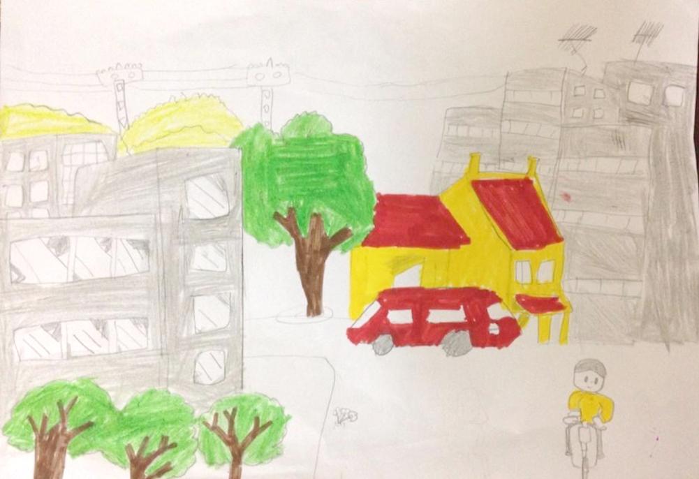 Hải Anh mơ về ngôi nhà có một đến hai tầng, khoảng sân vườn rộng rãi để nuôi những chú cún và các em mèo. Đây là một trong những bức tranh bé tưởng tượng và phát họa về ngôi nhà tương lai được gửi đến cuộc thi.