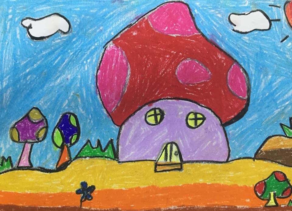 Thiết kế ngôi nhà trong mơ của bé Minh Khuê (8 tuổi) rất đặc biệt. Đó là ngôi nhà hình cây nấm để  bé được sống chan hòa cùng với thiên nhiên xanh mát.