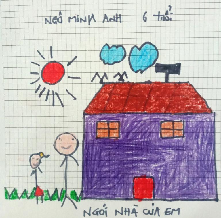 Ngôi nhà tuổi thơ ấm áp, tràn ngập niềm vui qua nét vẽ của bé Minh Anh (6 tuổi). Bé mong gia đình mãi hạnh phúc trong căn nhà đầm ấm này.