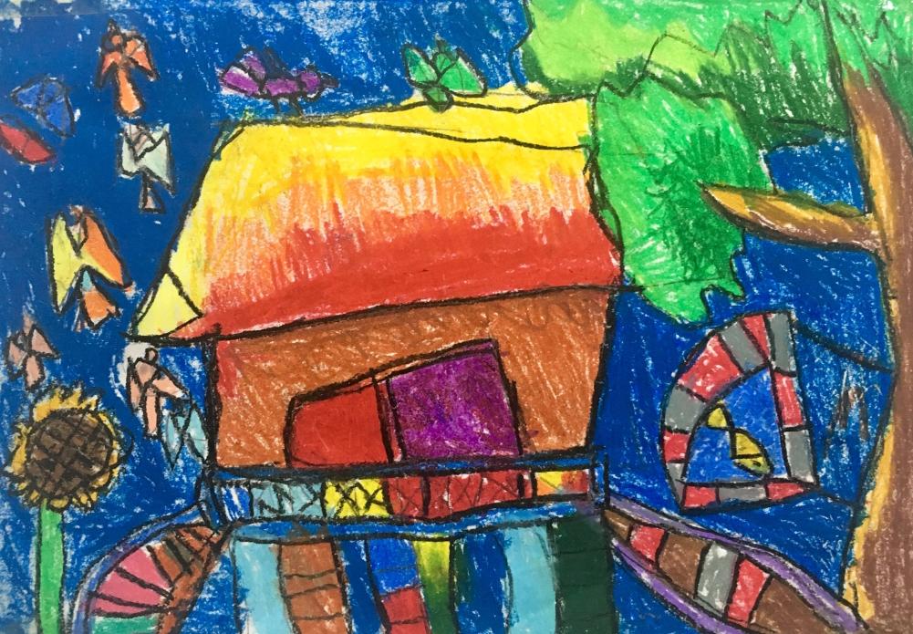 Con thích núi rừng thiên nhiên hoang dã. Con ở Hà Nội và thường được về rừng chơi. Con ước dựng được ngôi nhà sàn ở rừng nhà ông ngoại, bên dưới có hồ cá, có tiếng chim... và đây là bức vẽ lại ước mơ của con vào một buổi tối cách đây mấy tháng.