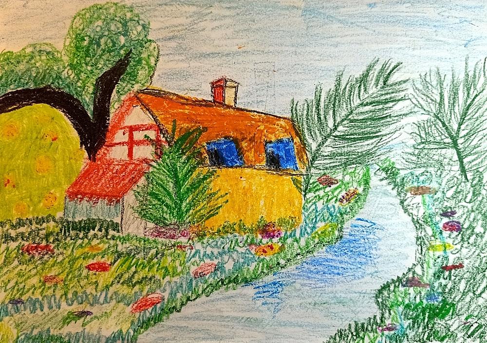 Bé Yến Nhi phác họa ngôi nhà ước mơ bên bờ suối, có tiếng chim hót líu lo, cây xanh tỏa bóng mát. Vườn hoa xung quanh nhà luôn đua nhau khoe sắc để bé ngắm mỗi ngày. Trong không gian xanh mát đó, bé và em sẽ cùng các bạn vui đùa mỗi ngày.