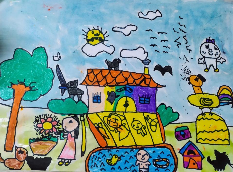 Bé Gia Linh sẽ được tung tăng trong chiếc hồ bơi cạnh nhà, các loài động vật đang nô đùa. Mỗi ngày, bé còn chơi cùng em trai thỏa thích. Đó là khung cảnh cô bé 5 tuổi vẽ về ngôi nhà trong mơ.