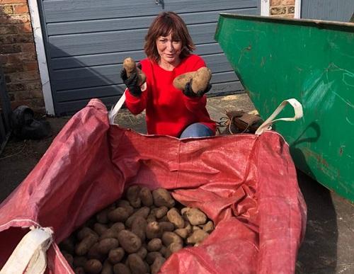 Trong thời gian phong tỏa vì đại dịch, Susan đã phân phát hàng nghìn củ khoai tây miễn phí từ trang trại của mình cho người dân ở Yorkshire. Ảnh: PA.
