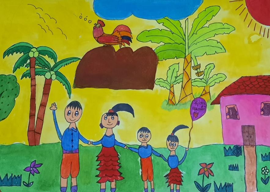 Trong tranh là bức ảnh Bảo Trâm vẽ cảnh gia đình hạnh phúc.