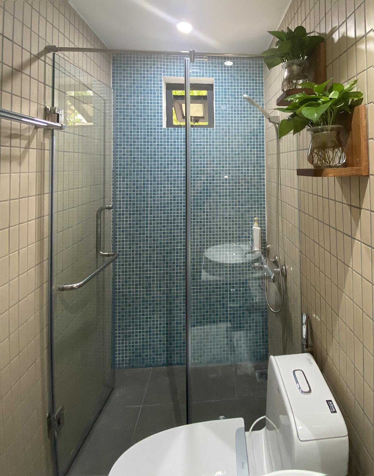 Phòng tắm của gia đình chị Phạm Thị Bích Thuận (Hà Nội) sau khi cải tạo. Ảnh: Nhật Lệ.