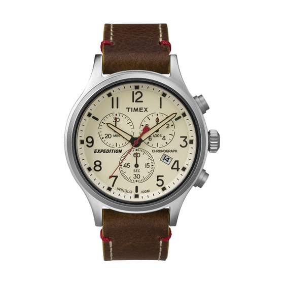 Đồng hồ Expedition Scout Chronograph TW4B04300 2.308.400đ(-42%)Màu Sắc: NâuĐường kính mặt :43mmDây :20mmĐộ dày mặt:12mmLoại mặt kính : Kính khoángDây da thật. Chống nước : 50mLoại máy đồng hồ : QuartzBảo hành : 12 tháng.