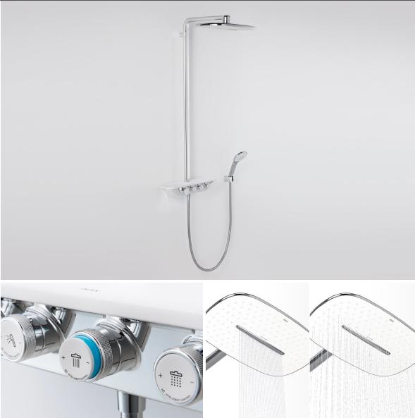 Hệ thống sen tắm S600 đem lại cảm giác thư thái từ dòng nước trên bát sen trần thả xuống cũng như những tia nước dịu nhẹ của sen tay.