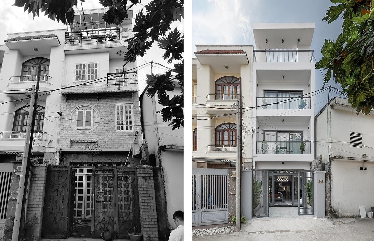 Căn nhà trước và sau cải tạo. Ảnh: Goku.