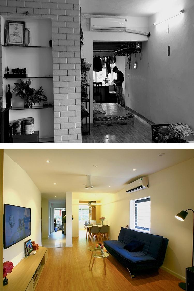 Không gian căn hộ trước và sau cải tạo. Ảnh: ACCESS design lab.