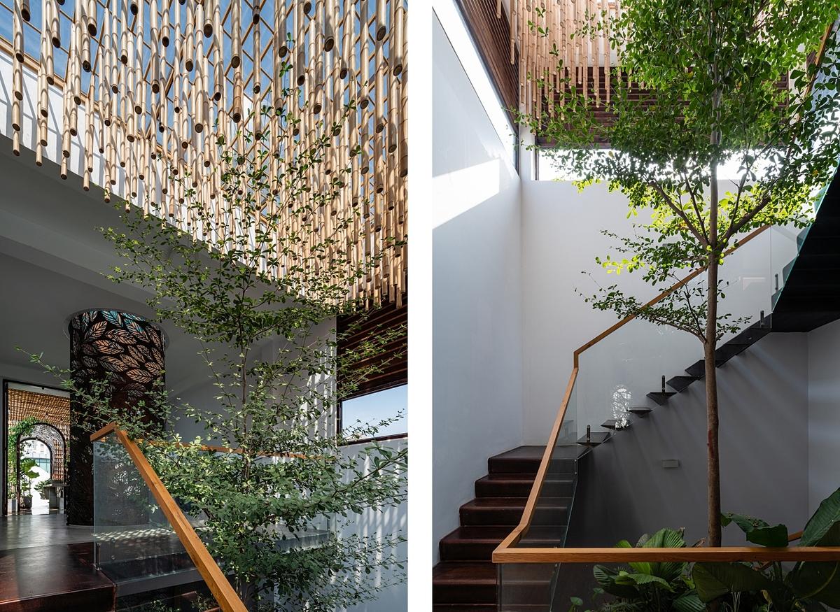 Những khoảng trống và mảng xanh có tác dụng phân chia không gian thay cho tường ngăn. Ảnh: Quang Dam.