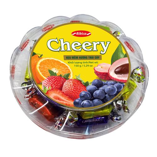 Hộp kẹo mềm Cherry đế tầng cho món quà ngày Tết thêm ngọt ngào, yêu thương. Ảnh: Bibica.