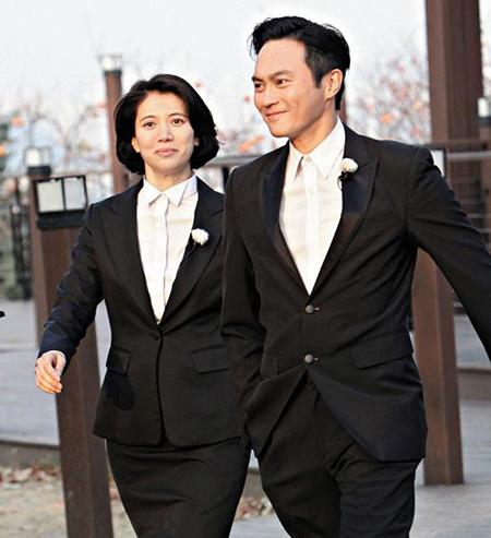 Vợ chồng nam diễn viên Trương Trí Lâm và Viên Vịnh Nghi. Ảnh: sina.