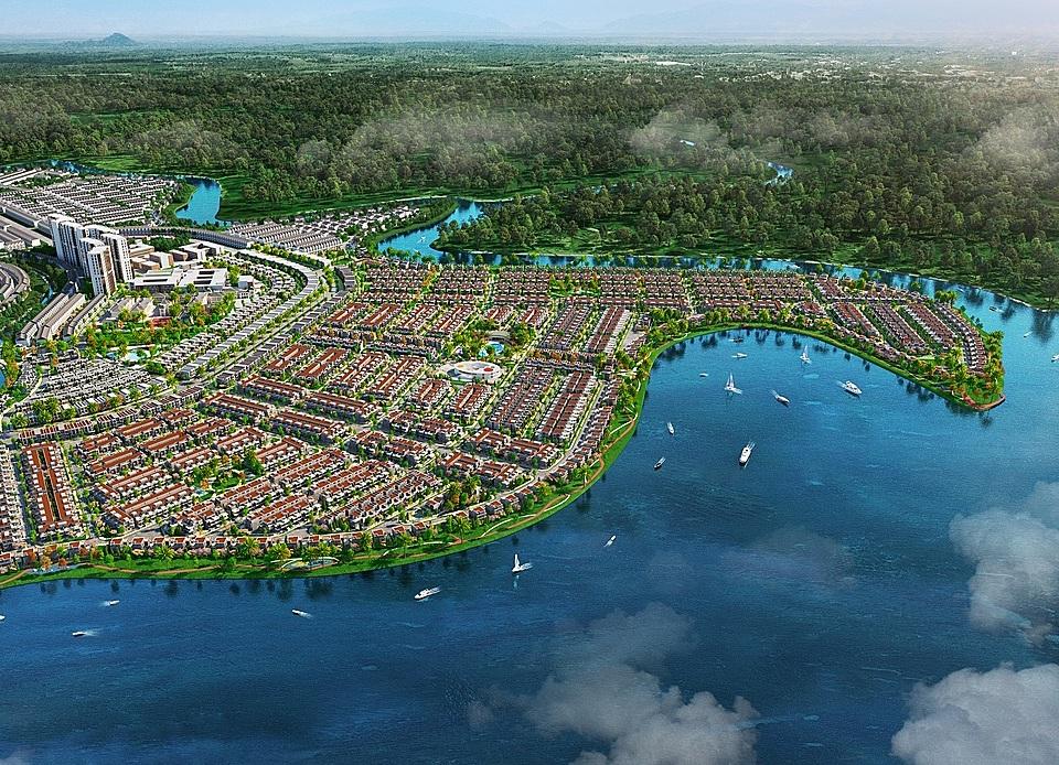 Đảo Phượng Hoàng thuộc Aqua City với địa thế đảo nguyên sinh, ôm trọn bởi một dòng Phước Long. Ảnh: Novaland.