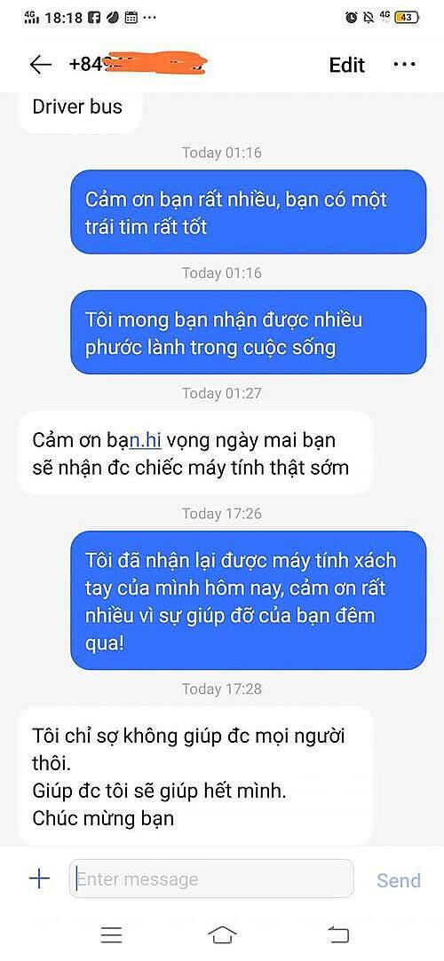 Những đoạn tin nhắn của Nadja và anh Sơn. Ảnh: Nhân vật cung cấp.