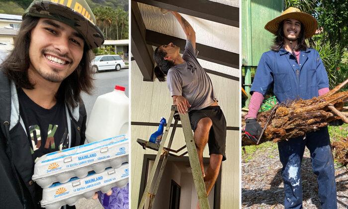 Dias đi giao sữa, sơn nhà, làm vườn... để hoàn thành mục tiêu trả nợ. Ảnh: